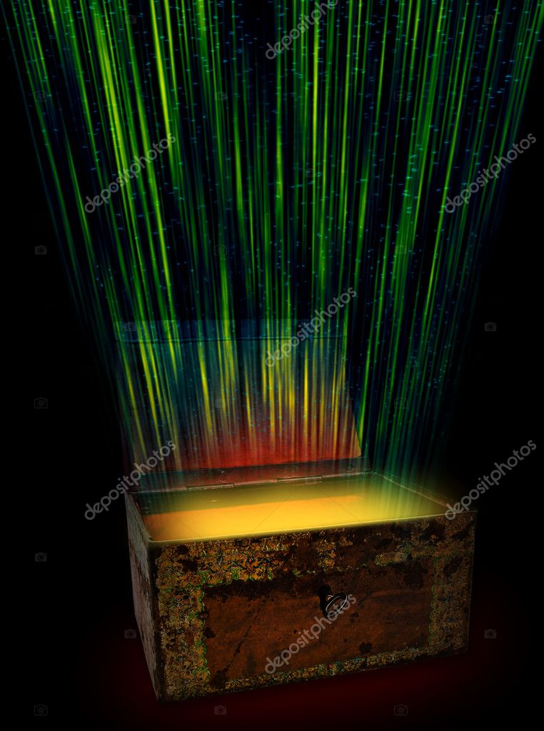 Chest with aflame treasure against the black background  Stock Photo #1499357