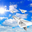 Sky and paper aeroplanes - Stock Photo