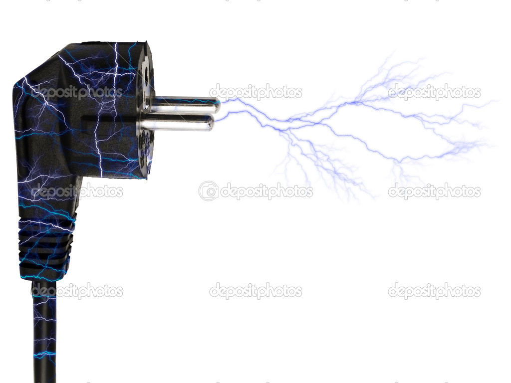 Photo of the black plug lightning over white background — Stock Photo #1500055