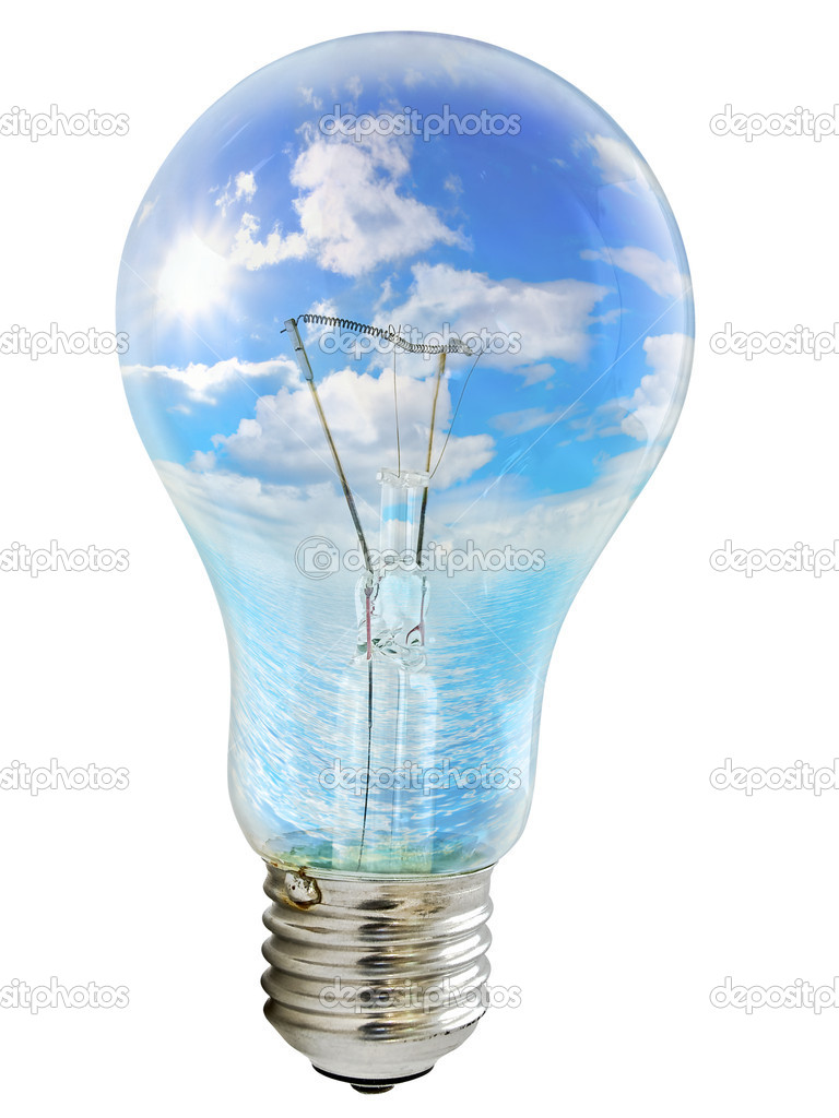 Photo of the bulb with sky inside against the white background — Stock Photo #1500167