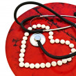 Stock Photo: Stethoscope and pills