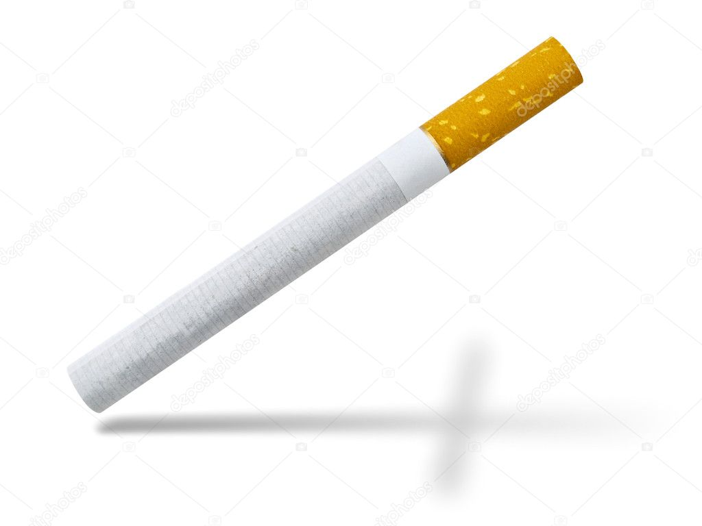Concept of death smoking: cigarette and burial cross shadow against the white background — Stock Photo #2288865
