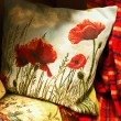 Pillow with poppy — Foto Stock