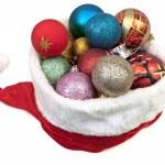 Christmas hat with Christmas balls — Stock Photo