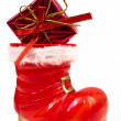 Red christmas boot — Foto de Stock
