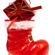 Red christmas boot — Stock fotografie