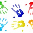 Multicolored hand prints — Stock Photo