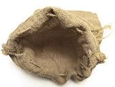 用辫子打开米色麻布袋 — 图库照片