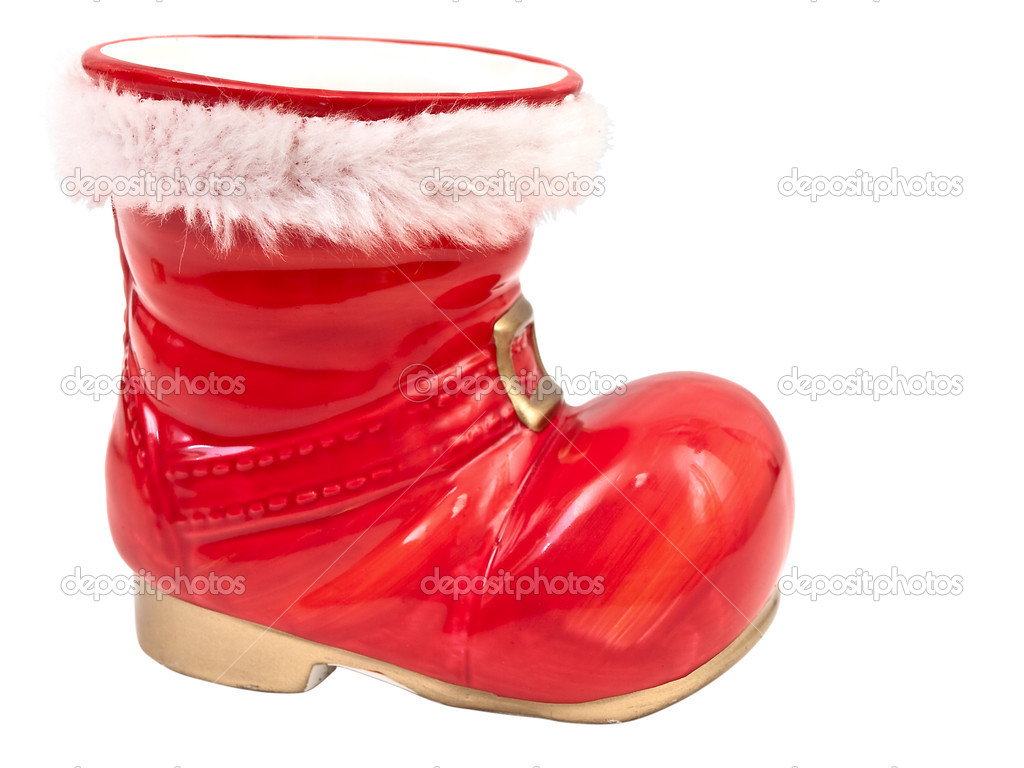 Photo of the red christmas boot against the white background — Stock Photo #2290396