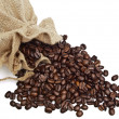 Sack with spilled coffe — Stock Photo
