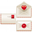 Three love letters — Vector de stock #1709631