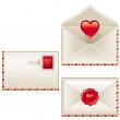 lettere d'amore di tre — Vettoriale Stock