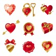 Vector set with Valentines symbols - Imagens vectoriais em stock