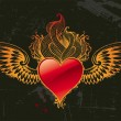 Vintage winged red heart — Stockvektor