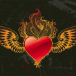 Vintage winged red heart — Stock vektor