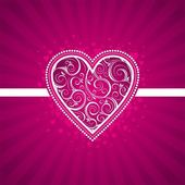 Tarjeta de san valentín con corazón adornado. — Vector de stock