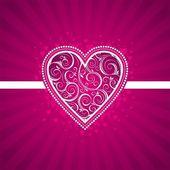 Valentinskarte mit reich verzierten herzen. — Stockvektor