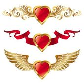 Valentinky srdce s dekorem — Stock vektor
