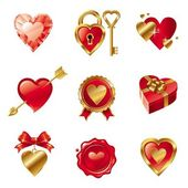 Vector set with Valentines symbols — Stock vektor