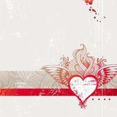 Vintage rysowane ręcznie płomienny serca — Wektor stockowy