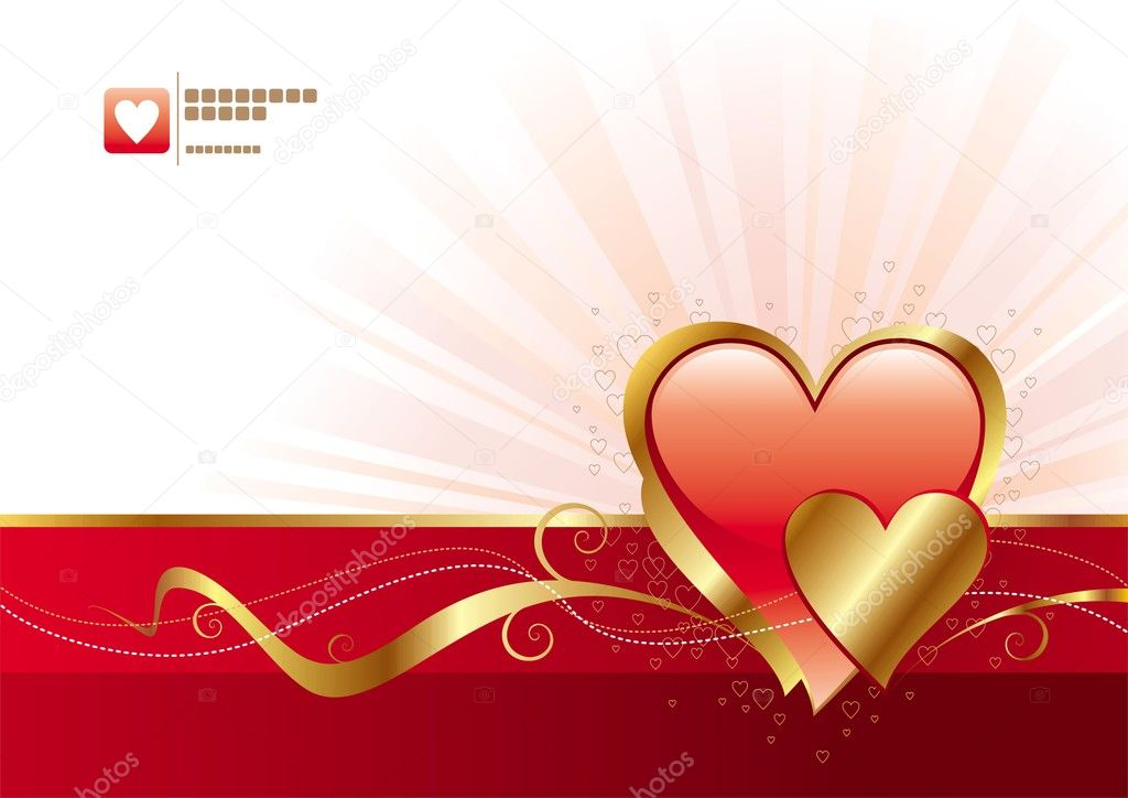 Valentines design with golden hearts.  Stock Vector #1709612