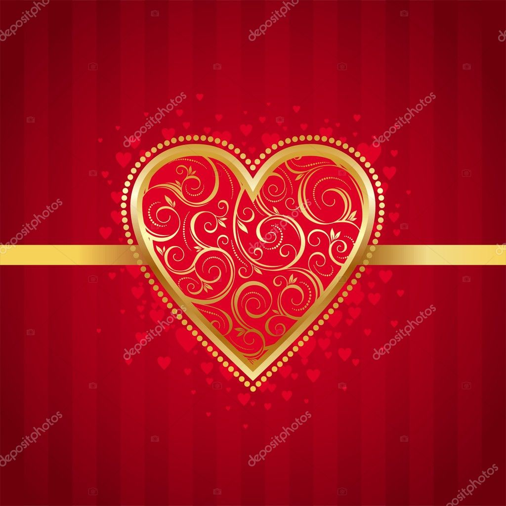 Valentines card with golden ornate heart.  Stock Vector #1709709