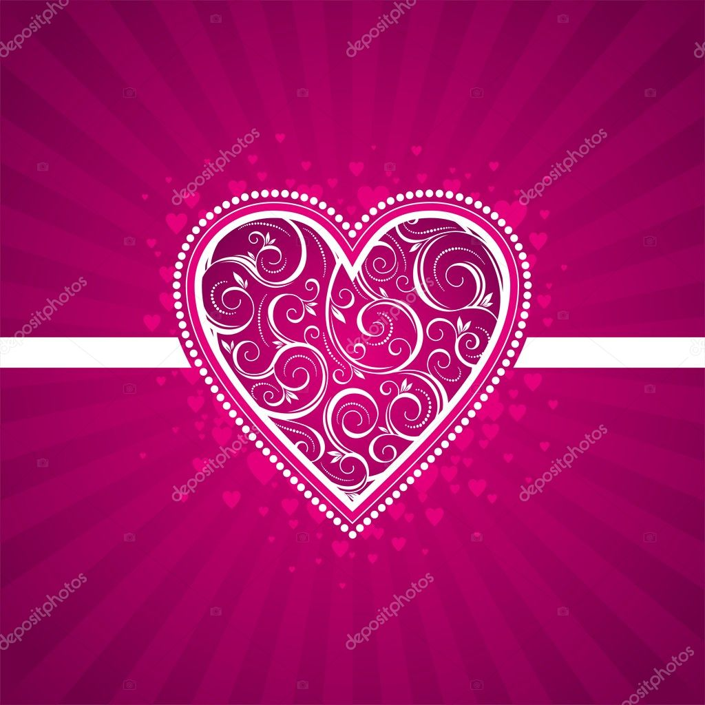 Valentine card with ornate heart. — Stock Vector #1709728