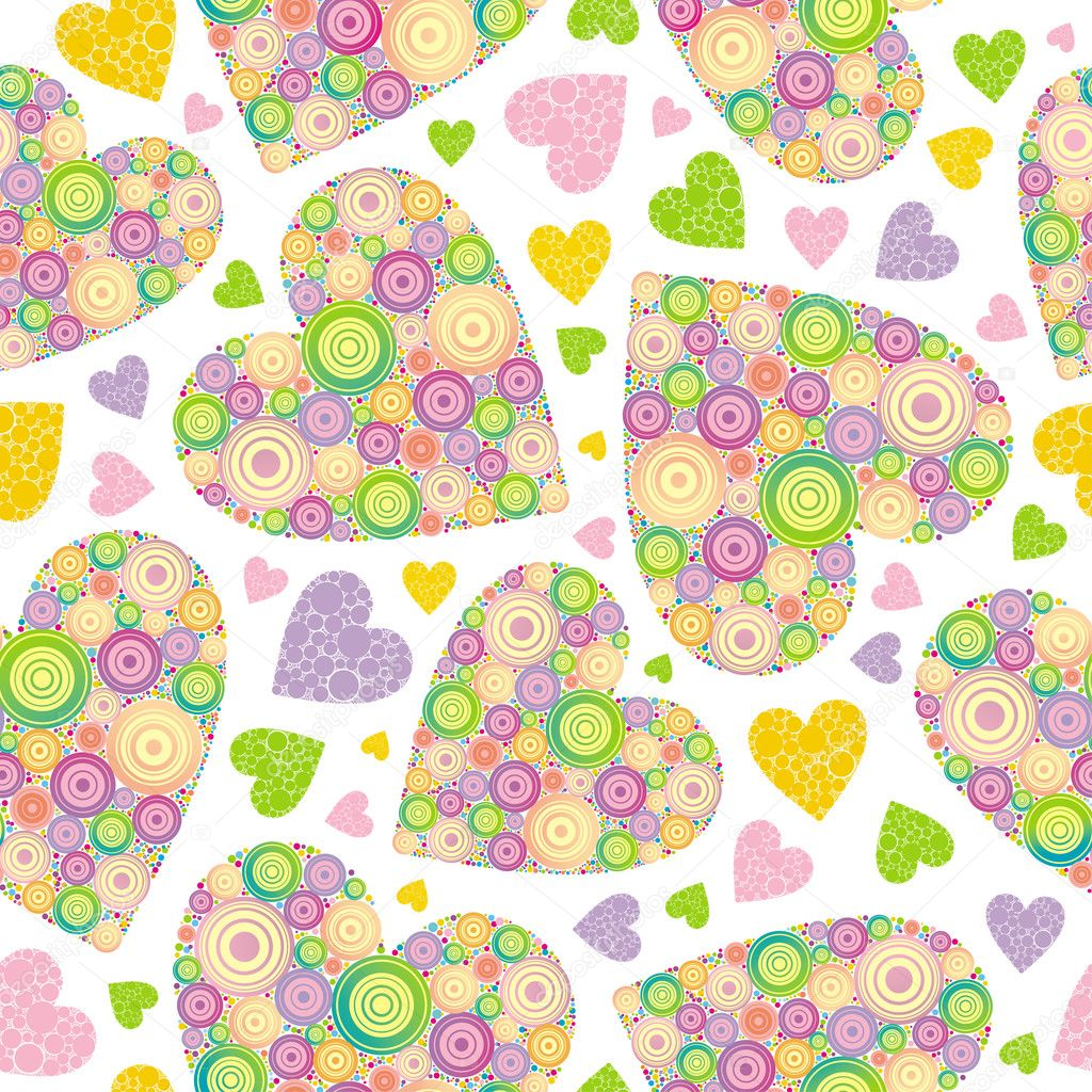 Valentines seamless background made of multi-coloured hearts. — Imagen vectorial #1709891