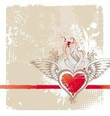 Vintage kırmızı kalp kanatlı — Stok Vektör