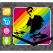 DJ and musical sign. — Stock Vector