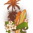 Stock Vector: Surfboards, hibiscus and palm trees