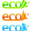 Stock Vector: Three eco emblems