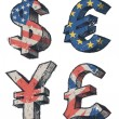 World currencies signs — Stock Vector