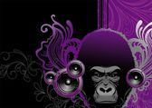 Gorilla and loudspeakers. — Stock Vector
