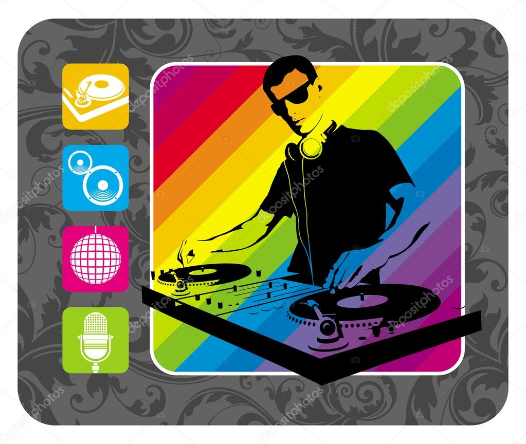Vector illustration with DJ and musical sign. — Stock Vector #1723379