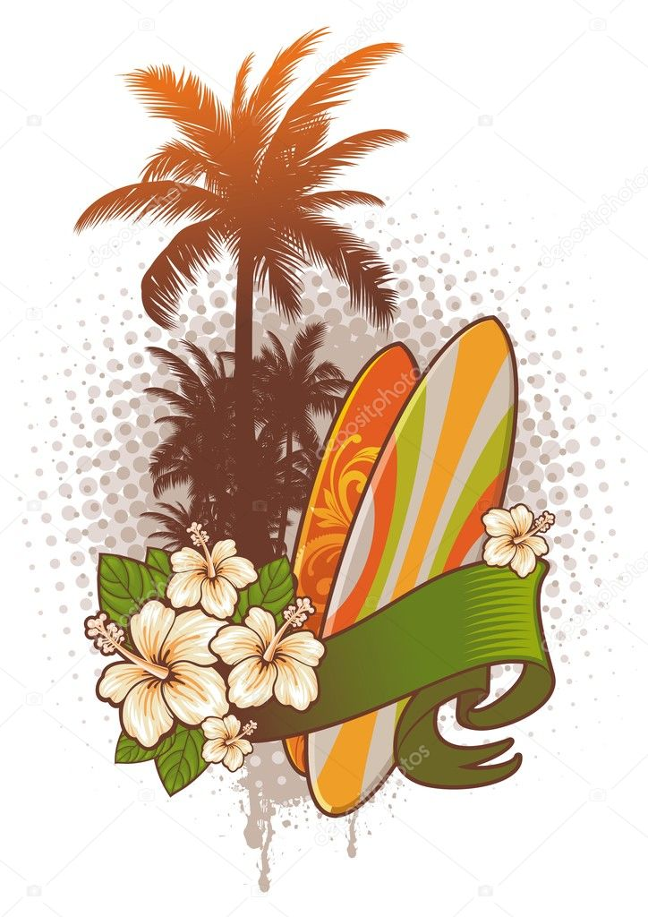Vector surfing emblem: surfboards, hibiscus and palm trees.  Stock Vector #1723446