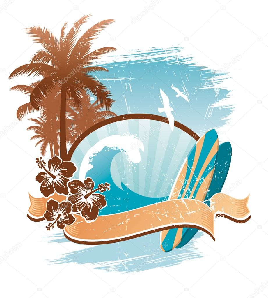 Vector vintage surfing emblem — Stock Vector #1723709