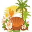 Tropical flowers, palms and surfer — Stock Vector