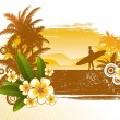 Frangipani flowers and surfer silhouette — Imagen vectorial