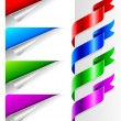 Colors bent paper corners and ribbon — Vettoriali Stock