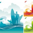 Surfers team - Stock Vector