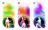 Vector loudspeakers & musicians — Stock Vector
