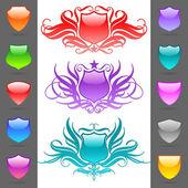 Glossy heraldic shields — Stock vektor