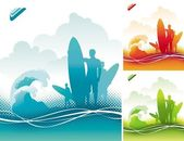 Surfers team — Stock Vector