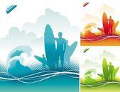 Surfers team — Stock Vector