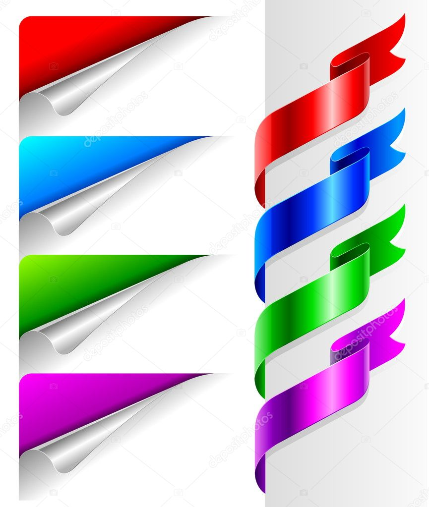 Colors bent paper corners and ribbon. — Stock Vector #1742590