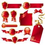 conjunto de sinais de vermelho-dourado e rótulos — Vetorial Stock