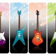 Four electro guitars — Stock Vector
