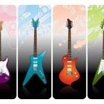Four electro guitars — Stock Vector