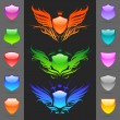 Set of glossy heraldic shields - Imagen vectorial